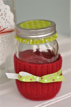 Cute gift...Cupcake paper under jar ring. Fill the jar with candies, bath salts, spices, gum balls...whatever!