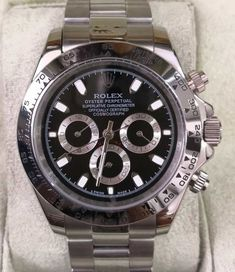 Relógio Rolex & Cosmograph Daytona & Prata c/ Fundo Preto & Réplica Premium AAA+ Cosmograph Daytona, Omega Watch, Rolex Watches, Accessories, Woman Watches, Silver, Luxury, Ornament