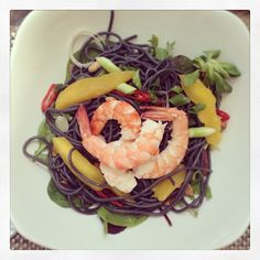 Tiger Prawn and Mango salad with squid ink pasta on the Fifth Floor