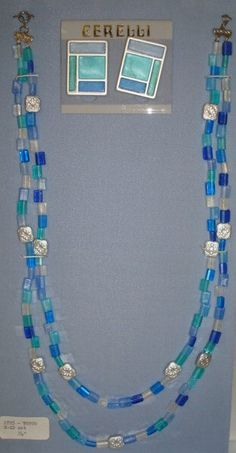 Great Blue and Silver Plastic Beaded Vintage Cerelli Necklace and Earrings Set