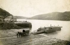 King Harry Ferry, River Fal, Cornwall, transporting horse and cart, c 1900