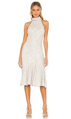 High neck sequin midi dress. Great for micro wedding! #affiliatelink #dresses #sequindress Plus Size Dresses, Dresses For Work, Bella Dresses, Engagement Party Dresses, Eyelet Dress, Metallic Dress, Tie Dress, Revolve Clothing, Women Lingerie
