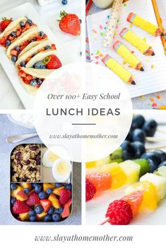 Looking for some lunchbox inspiration? These ideas will keep your child's lunch box exciting (and HEATHY) will how colorful, fun, and inventive they are, while still being SUPER EASY to put together in the morning ;). Read more on SLAYathomemother.com...