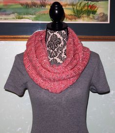 A personal favorite from my Etsy shop https://www.etsy.com/listing/465941416/coarl-with-silver-sequins-infinity-scarf
