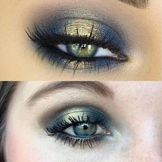 "Do we have any green eye'd beauties out there??   Recreation of this Top Look!! All Younique Products!!!   Palette 4- ""Tender"" as highlight under the Brow and Inner ducts, ""Arrogant"" as transition, and ""Triumphant"" for the outer halo and the outer liner on the bottom of the lash line!   Palette 5- ""Vindictive"" for the center gold foil on the lid and bottom lash line!   3D Mascara and Perfect Liner on the water line!  I hope our addiction palettes are part of our promo!"