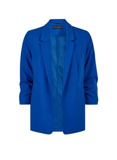 Cobalt edge to edge jacket with ruched sleeve detail. Bardot Midi Dress, Multi Coloured Scarves, Lace Vest, Short Shirts, How To Roll Sleeves, Stylish Outfits, Cobalt, Clothes For Women, Trending Outfits
