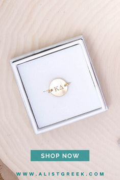 Engraved Kappa Delta Greek letter circle ring from A-list Greek. Available in sterling silver, rose gold and gold in 3 ring sizes. Shop at www.alistgreek.com! #sorority #jewelry #rings #circle #circlering #disc #greek #letters #bidday #biglittle #recruitment #sororityletters #graduation #kaydee #kd #kappadelta