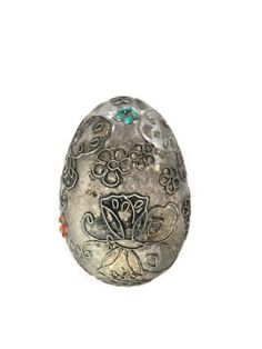 Antique Silver Ornament - Chinese Decorated Egg - with Turquoise and Coral - Butterflies and Flowers - Vintage Home Decor