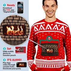 AMAZING!! Crackling Fireplace Christmas Jumper by Digital Dudz | Cheesy Christmas Jumpers
