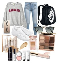 """campus"" by pepebitch on Polyvore featuring beauty, Levi's, H&M, NIKE, adidas Originals, Casetify, Stila, Ray-Ban, Giorgio Armani and Beautycounter"