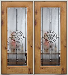 Full Lite Texas Star Knotty Alder Wood Entry Double Door. Great for Texans near and & 3/4 Arch Mahogany Wood Entry Texas Star - front entry door from Door ...