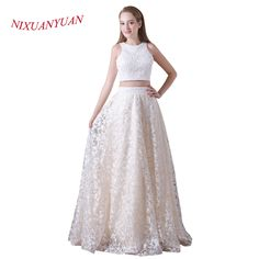 02e3a2e0448 NIXUANYUAN 2018 New Design Custom Made Elegant Champagne Lace Wedding  Dresses 2017 Beading Two Pieces Sexy