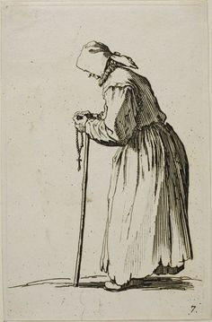 Jacques Callot French, 1592-1635, Woman Beggar with a Rosary, plate seven from The Beggars
