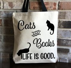 Cat Lover Gift - Book Lover Gift - Cats Books Large Tote Bag - Animal Lover Gift - Pet Lover Gift - Love Cats Gifts - Large Canvas Tote Bag