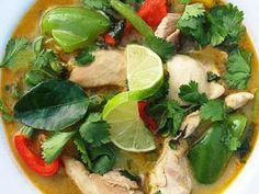 Thai Green Curry Chicken (with Vegetables, topped with coriander, basil, and lime leaf) - Copyright Darlene A. Schmidt, About.com Corp.