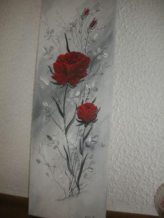 ROSES ROUGES DANS FEUILLAGE GRIS SUR FOND DEGRADE : Peintures par brigitte-schutten
