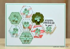 handmade birthday card by JanB Handmade Cards Atelier .. punched hexagon guild flower ... stitch lines and tiny punched flower tops each one ... sweet! ... Stampin' Up!