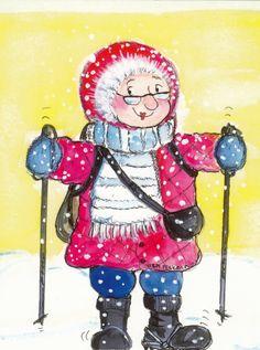 Virpi Pekkala Art Deco Illustration, Winter Art, Tole Painting, Digi Stamps, Whimsical Art, Christmas Art, All Art, Kids Playing, Scandinavian