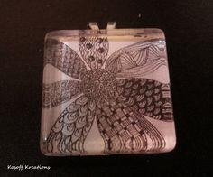 Zen Tangle Doodle Glass Pendant  Flower Pattern by Kosoff on Etsy, $23.00