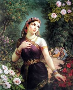 """""""O Radharani, O Queen of Vrindavana, Your complexion is like molten gold, Your doe-like eyes are captivatingly restless, a million full and brilliant moons ..."""
