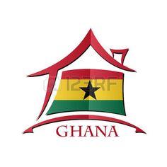 Icono de la casa hecha de la bandera de Ghana...
