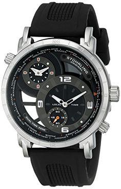 Stuhrling Original Men's 681.01 Renegade Swiss Quartz World Time Black Rubber Strap Watch