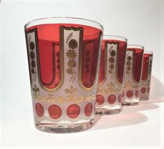 Cera Double Old Fashioned,Cera Rocks Glasses, CGP26 Cera Red and Gold Vintage Cera Tumblers, Retro Barware, Bar cart by MotownLostandFound on Etsy