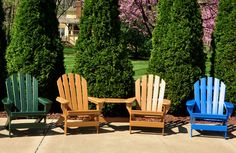 Cape Cod Recycled Plastic Adirondack Chairs with Tete-A-Tete Table Top Recycled Plastic Furniture, Recycled Plastic Adirondack Chairs, Patio Chairs, Outdoor Chairs, Outdoor Furniture, Outdoor Decor, Plastic Lumber, Aesthetic Rooms