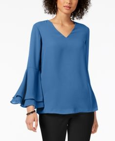 Alfani V-Neck Poet-Sleeve Top, Created for Macy's - Tops - Women - Macy's Bell Sleeve Blouse, Bell Sleeves, Bell Sleeve Top, Macys Tops, Daytime Dresses, Blouse And Skirt, Dresses With Leggings, Ladies Dress Design, Lace Tops