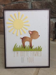 Lawn Fawn - Into the Woods, Milo's ABCs, Spring Showers, Grassy Border _ cute and punny card by Nicole via Flickr - Photo Sharing!