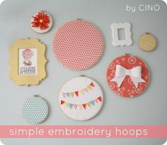 embroidery hoop art (bunting and bows!)