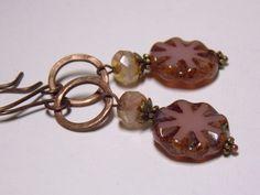 Pink Czech Glass & Copper Dangle Earrings