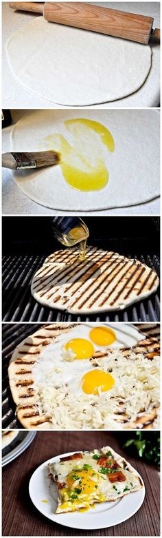 Grilled breakfast pizza looks like a perfect way to start the day!