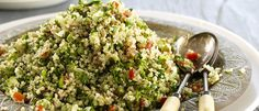 Quinoa (kin-wah) is a gluten free grain which is becoming increasingly popular.  Used here with Mediterranean Basil Pesto Chunky Dip for a clever twist on a classic Middle Eastern salad.  Full of f...