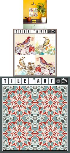 Set 12 Retro Art Tile Wall Decals Stickers DIY Kitchen Bathroom Home Decor Vinyl $21.95