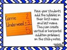 Easy Syllable Activities Kindergarten Classroom, Classroom Ideas, School Fun, School Stuff, Name Activities, Phonological Awareness, Teaching Language Arts, Syllable, Math Resources