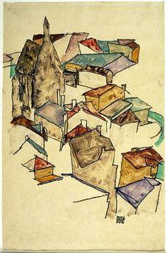 Egon Schiele Landscape Rooftops (via griffinlb):
