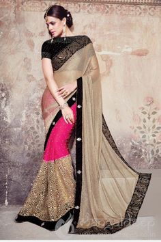 http://www.mangaldeep.co.in/sarees/designer-party-wear-sarees/dazzling-golden-and-pink-designer-party-wear-saree-5282 For further inquiry whatsapp or call at +919377222211