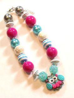 Owls Rule Hot Pink Aqua White Grey Girls Chunky Big Beads Necklace - Little Girls Necklace - Baby Girls Necklace on Etsy, $300.00