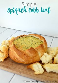 Simple Spinach Cobb Loaf Recipe - the perfect party food! Both regular and Thermomix instructions included. Loaf Recipes, Dip Recipes, Cooking Recipes, Recipies, Savoury Recipes, Radish Recipes, Cooking Stuff, Cooking Games, Healthy Recipes