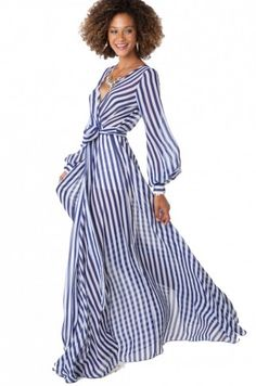 Thin Striped Chiffon Wrap Dress in Navy