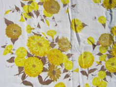 Vintage Linen Tablecloth Golden Yellow  Marigolds   by LavenderGardenCottag