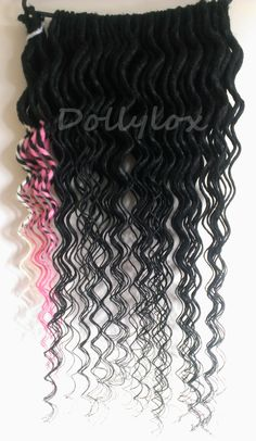 Double ended black dreads, transitional dreads Black - blonde, black - pink. Curly / wavy 30 inches long! https://www.facebook.com/Dollyloxdreads #dreads #dollylox #hair #dreadlocks #extensions #black #pink #white #cream #blonde #long