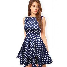 Vestido casual sin mangas corte alto para Mujer Azul