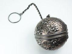 Antique Gorham Tea Ball Infuser Vintage Gorham Tea Ball Sterling Silver Tea Ball Repousse Tea Ball Ornate 1869