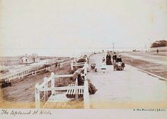 The Esplanade in St Kilda, Victoria (year unknown). Melbourne Victoria, Victoria Australia, Melbourne Suburbs, It's Wonderful, St Kilda, Melbourne Australia, Kiosk, Historical Photos, Old Photos
