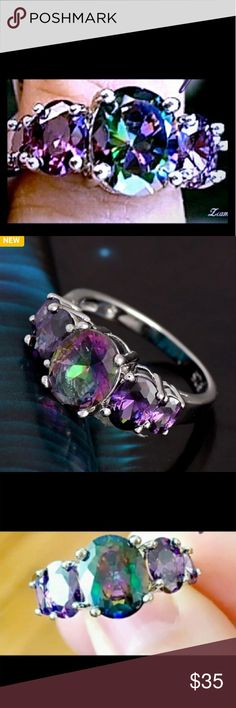 """3.3 CT Mystic Rainbow Sterling Silver Sz 7 A beautiful 3.3 Ct weight """"mystic rainbow crystal"""" on a size 7 Sterling silver band. Beautiful ring. Jewelry Rings"""