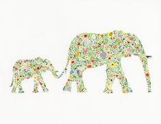 Mamma and Baby Elephant Floral Watercolor Print - Elephant Nursery - Elephant Artwork Baby Animal Nursery, Elephant Nursery, Elephant Print, Baby Elephant, Nursery Art, Nursery Design, Nursery Ideas, Snoopy Tattoo, Elephant Artwork