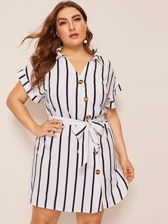 Plus Dip Hem Button Belted Shirt Dress [swdress01190402206] - $34.00 : cuteshopp.com