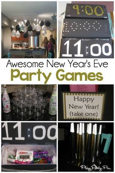 Simple New Year's Eve Party Ideas & Countdown Boxes - Play Party Plan These are the best New Year's Eve party games! Love the hourly boxes with New Year's Eve trivia and printable games! New Years Eve Games, New Years Eve Day, New Years Eve Party Ideas For Adults, New Year's Eve Games For Adults, New Years Party Themes, New Years With Kids, New Years Eve Food, New Year's Eve Celebrations, New Year Celebration